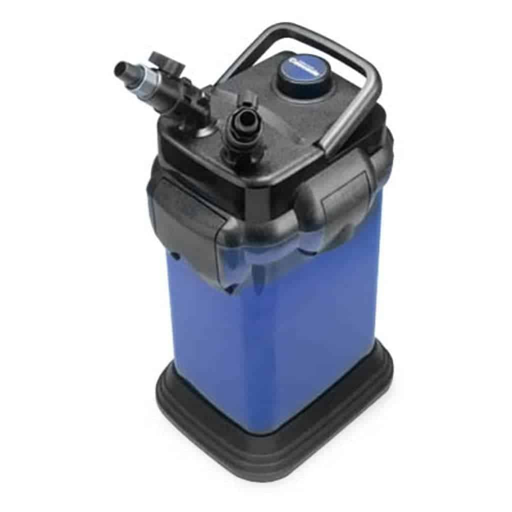 Black and blue Cascade canister filter.