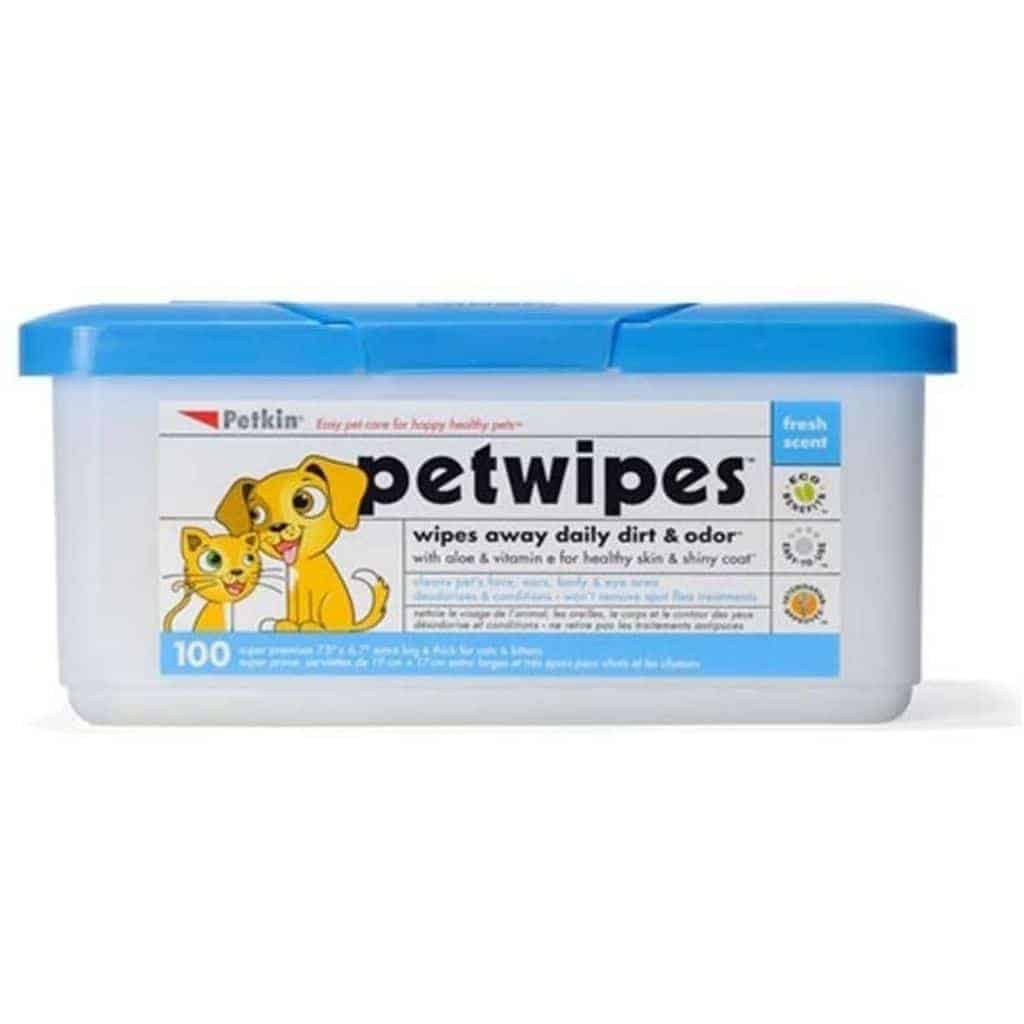 Container of Petkin pet wipes.