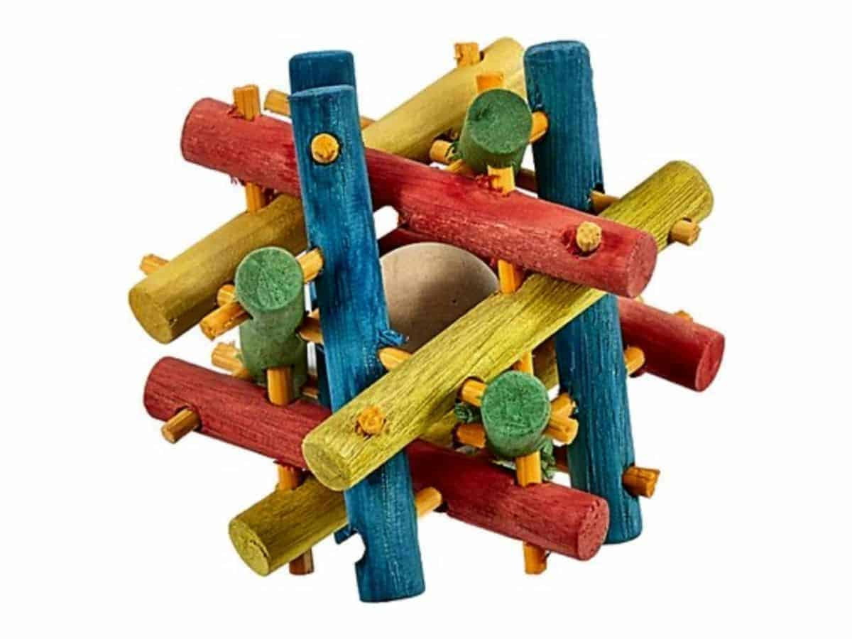 Multicolored knot nibble toy for hamsters.