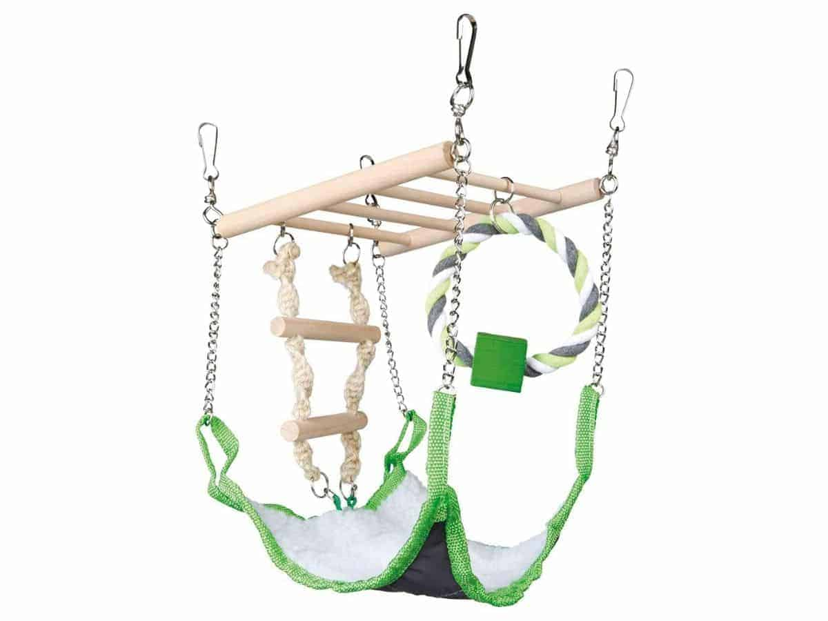 Suspension bridge and hammock toy for hamsters.