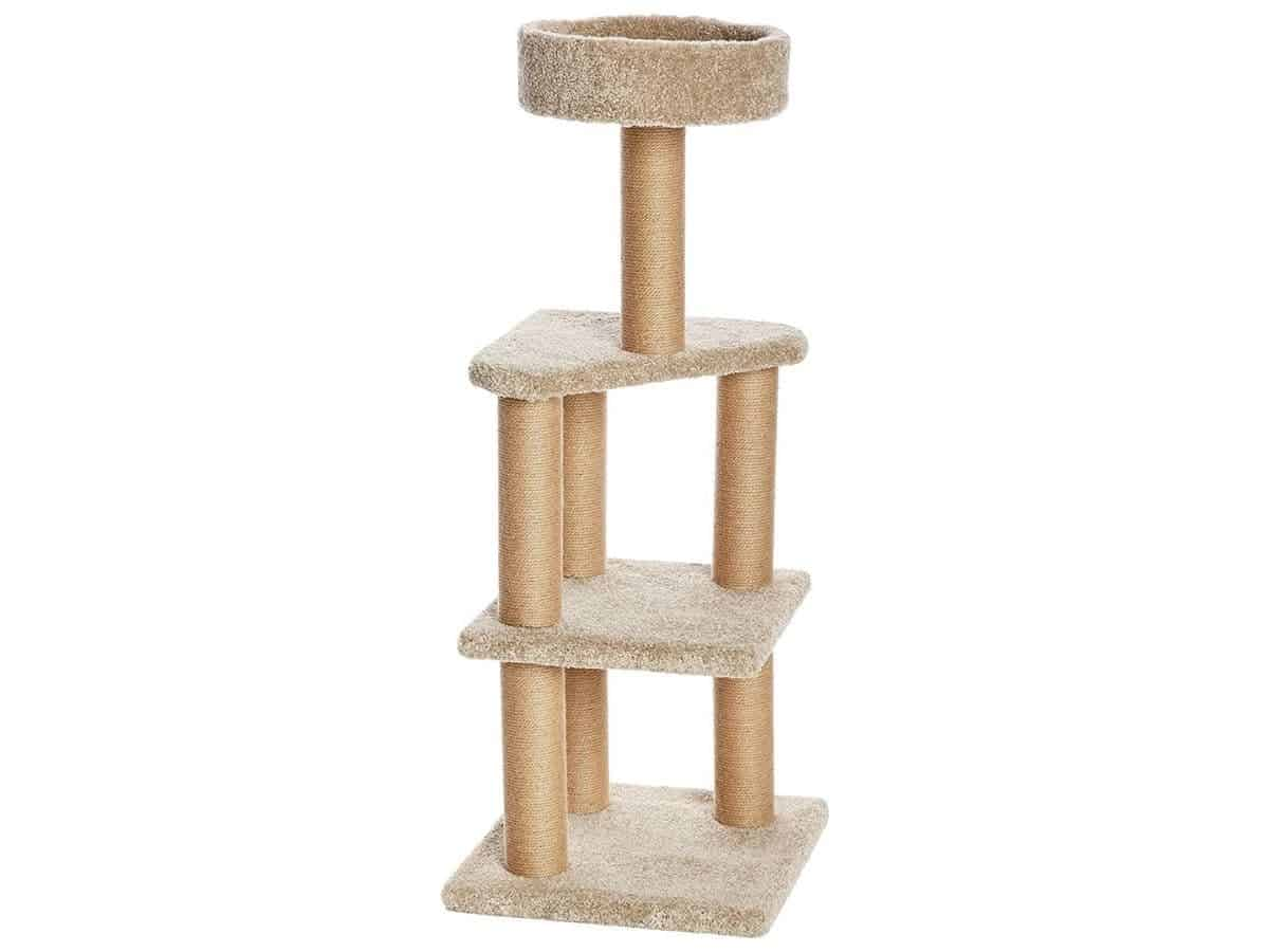 Beige carpet cat tree with four levels.