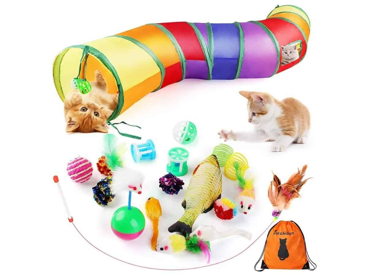 Cats playing with a lot of toys and a tunnel tube.