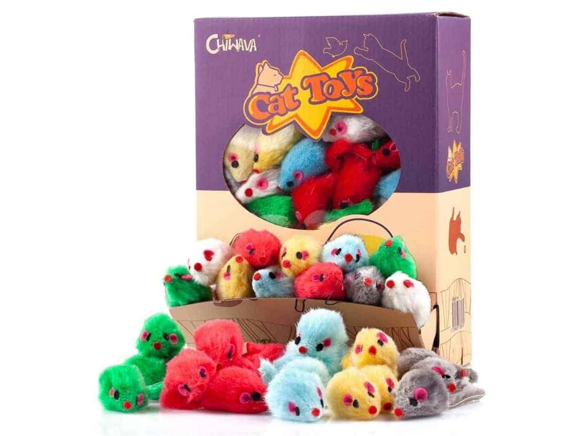 Mice cat toys in a box.