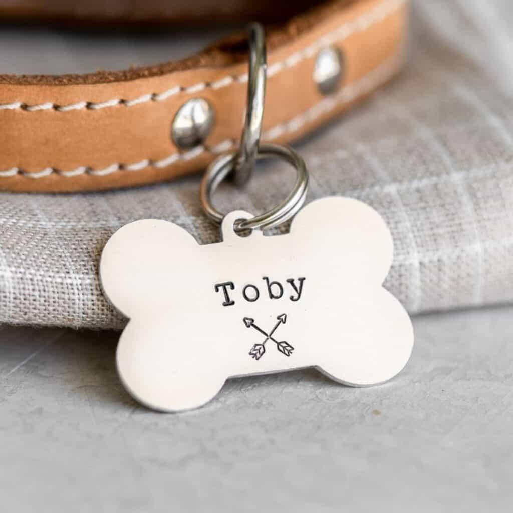 Dog bone pet ID tag with crossed arrows imprinted.