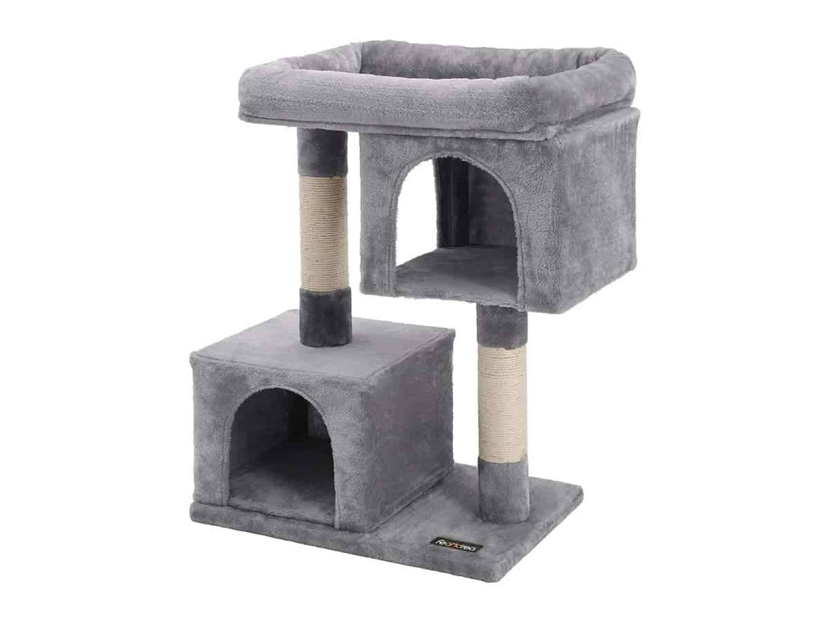 Grey two-story cat tree with scratching pillars.