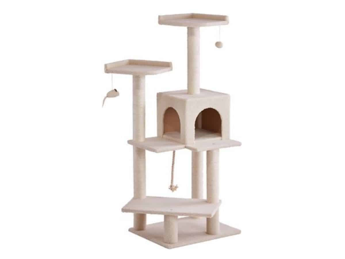 Frisco cat tree with hide-outs and multiple platforms.