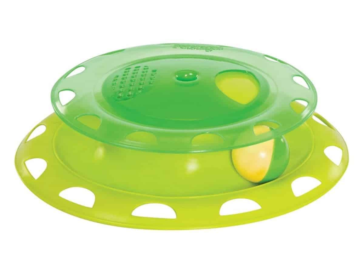 Green cat toy tower with a ball in it.