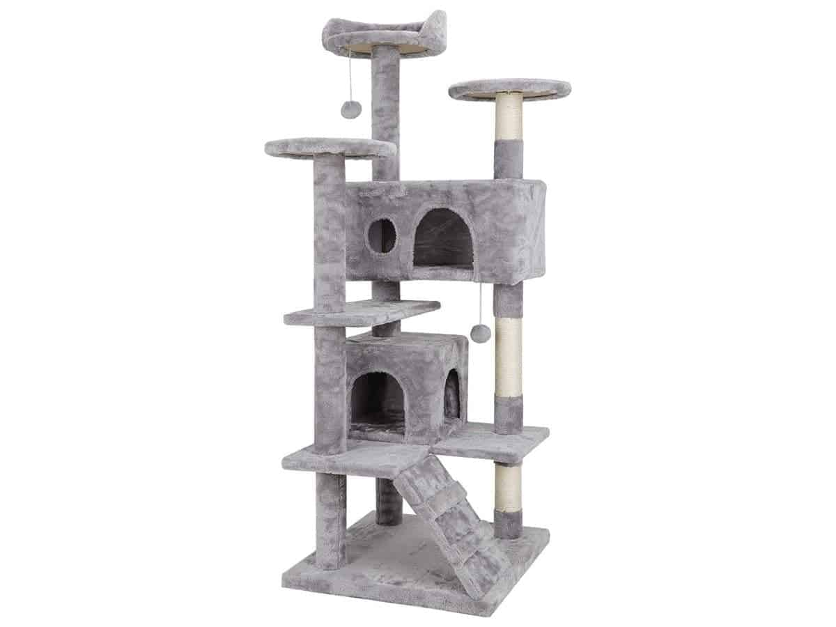 Grey multi-level cat tree with scratching posts.