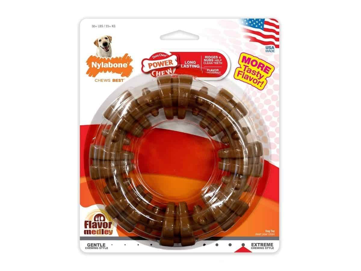 Nylabone ring dog chew toy in its packaging.