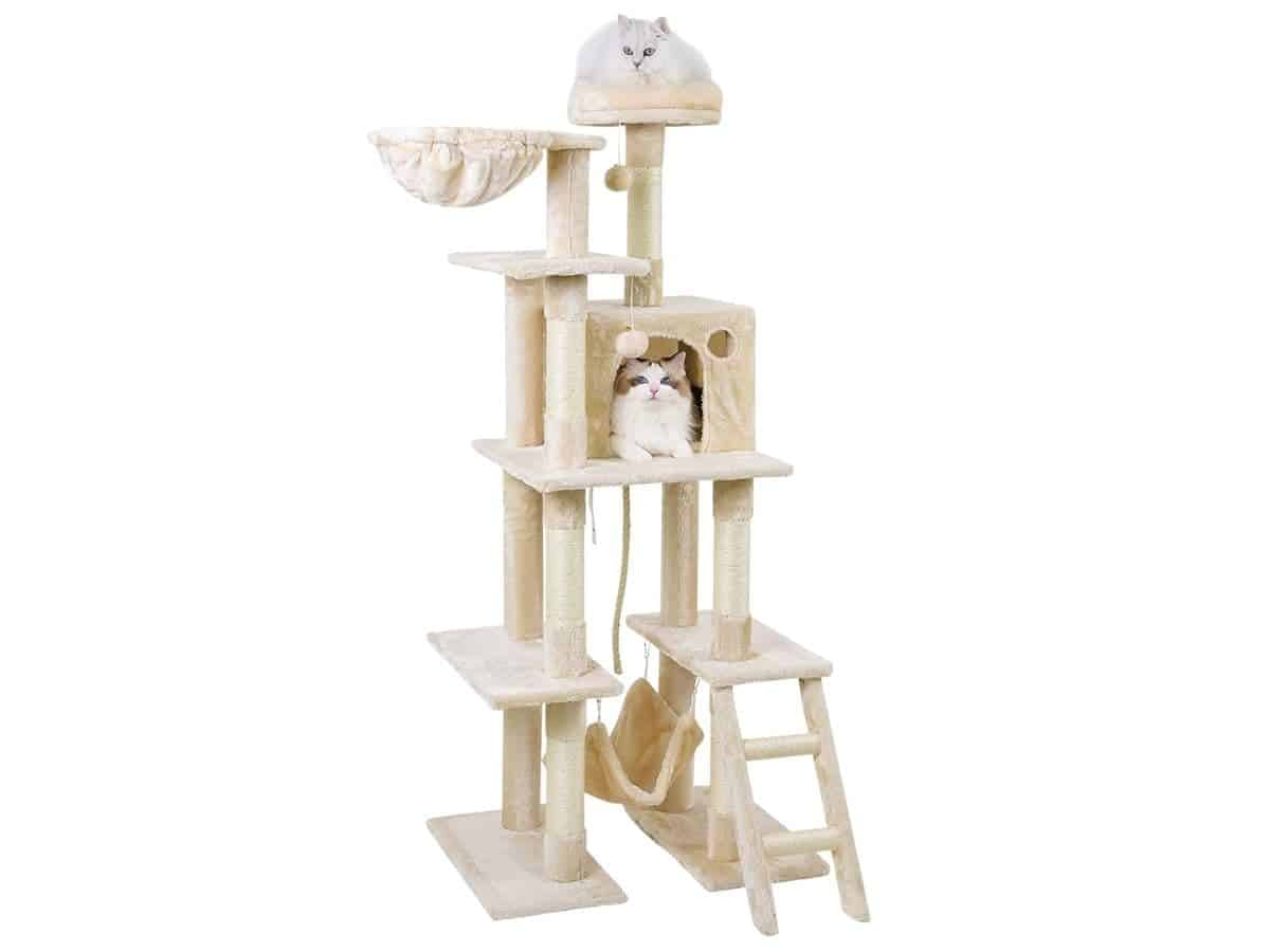 Two cats on a tall cat tower with five levels.